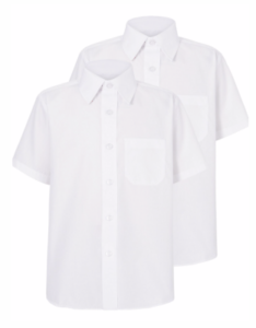 New Short Sleeved Boys School Uniform Smart Shirt Pack of 2