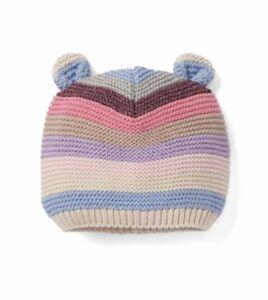 1e0aafe3fae42 Gap Baby Girl Bear Garter Beanie Sweater Hat Pink Multi Stripe Size ...
