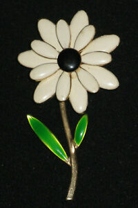 Vintage Enamel Daisy Brooch White Flower Brown Center Green Leaves Gold Tone Ebay Decentralized ai system being developed by endotech. ebay