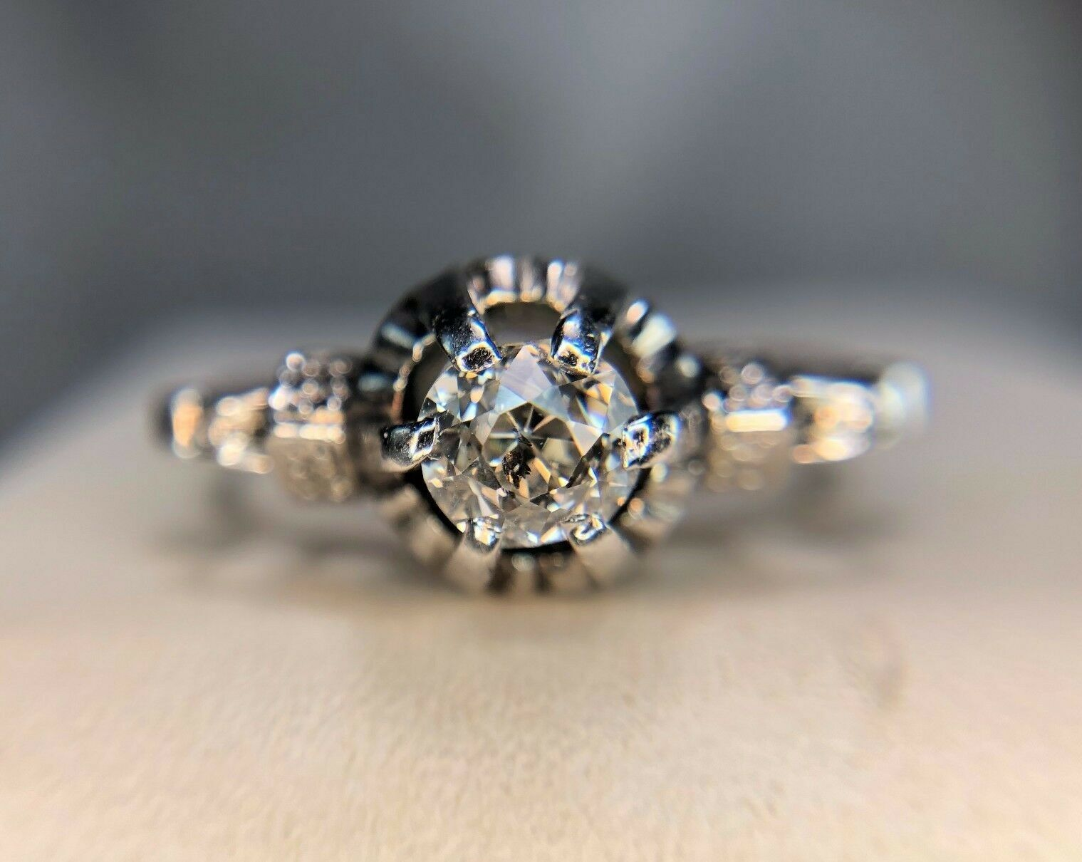 Vintage Art Deco 1920's Platinum Old Mine Diamond Engagement Ring 1 2 ct