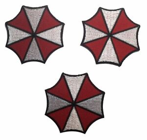 "Resident Evil Biohazard Symbol 3/"" Tall Embroidered Iron on Patch Set of 3"