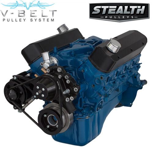 Black Ford 289 302 V-Belt Kit Billet Aluminum Pulley Bracket Alternator Only