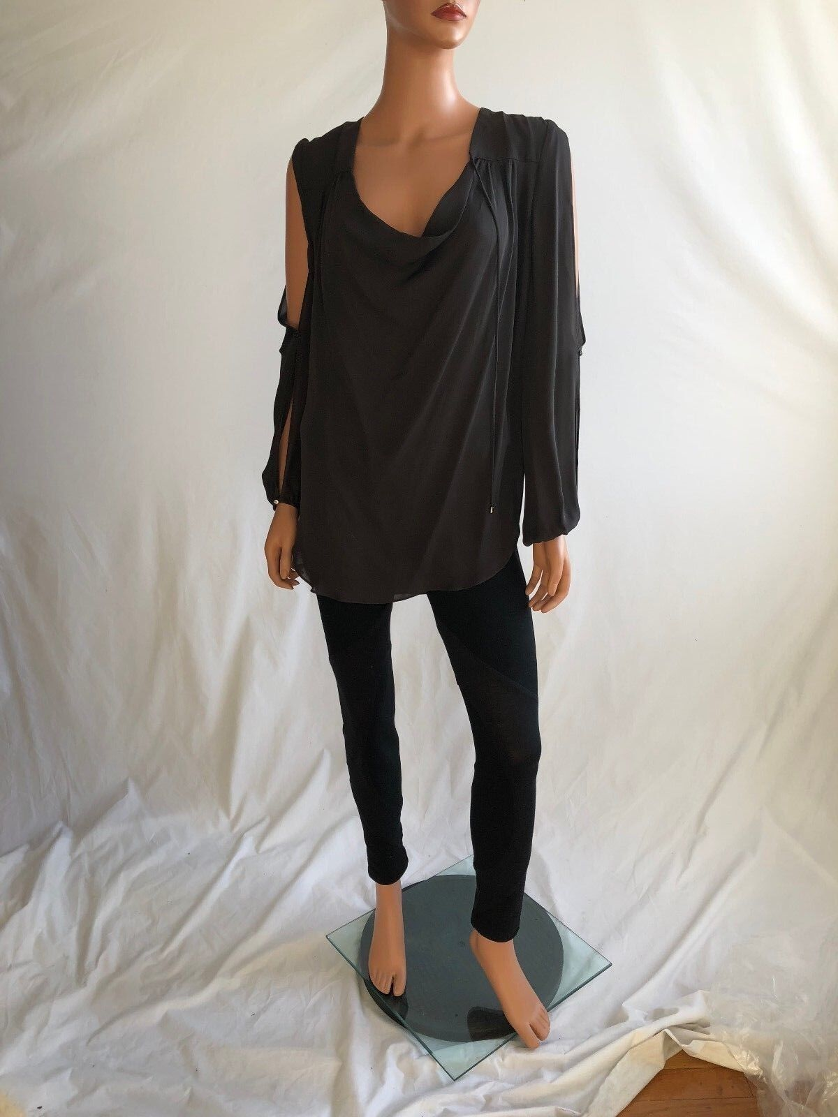 Haute Hippie Graphite Long Sleeve Halter Silk Blouse   Größe S