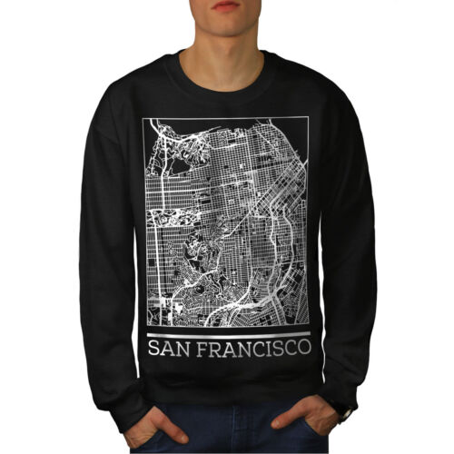 Fashion Men Sweatshirt Francisco San Black Map New q7EA00vw