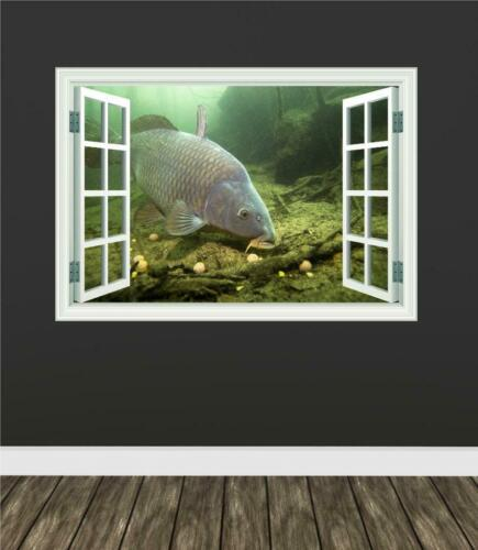 Carp Feeding Fishing Window Wall Car Van Art Sticker Decal Transfer Mural