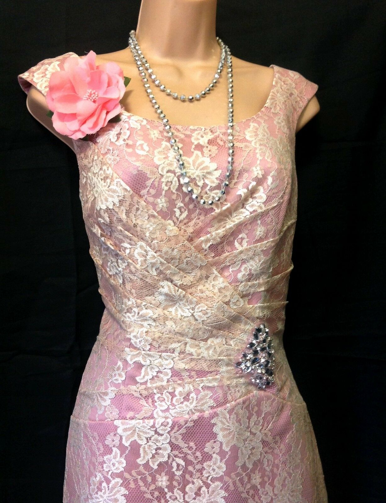 Bnwt EBONY ROSE (UK 12) Peach Lace & Pink Satin Cocktail Dress /Weddings/Races