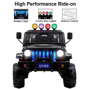 12V-Kids-Ride-on-Toy-Car-Jeep-Wrangler-Electric-Battery-w-Remote-Control-Black