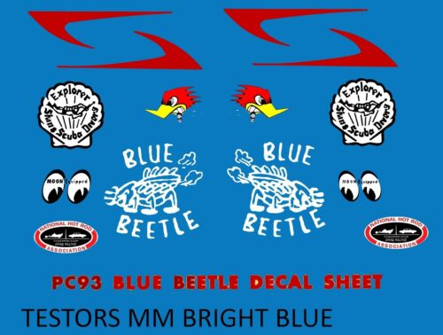 Monogram  1929 Blue Beetle Ford PU REPRODUCTION DECALS ONLY =BLUE BANDITO