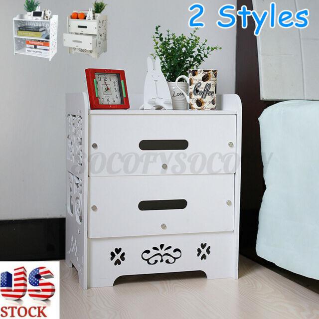 3-Tier Wooden Nightstand Modern End Side Bedside Table Desk Storage Shelf