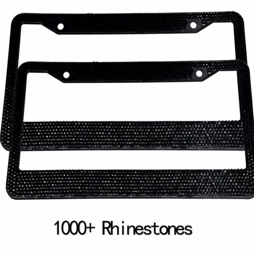 Metal Diamond Bling Black Licence Plate Frames Holder Screws 2Pcs For US/&Canada
