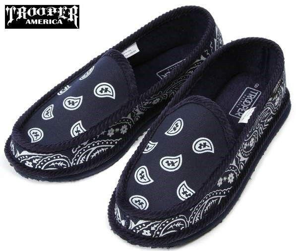 Navy Bandana Slippers House Shoes