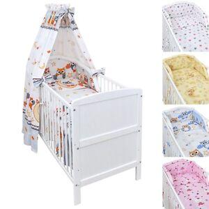 Babybett-Kinderbett-Juniorbett-weiss-140x70-Bettwaesche-Bettset-komplett-22-tlg