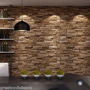 brick stone 3d wallpaper nature visual effect cleanable home wall treatment new ebay. Black Bedroom Furniture Sets. Home Design Ideas