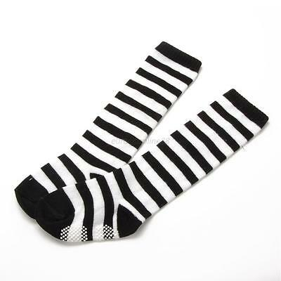 New Toddler Kids Girls Tights Socks Retro Cotton Striped Above The Knee Stocking