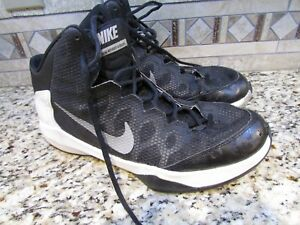52a11662887 Image is loading NIKE-ZOOM-BASKETBALL-SHOES-BLACK-WHITE-MENS-10-