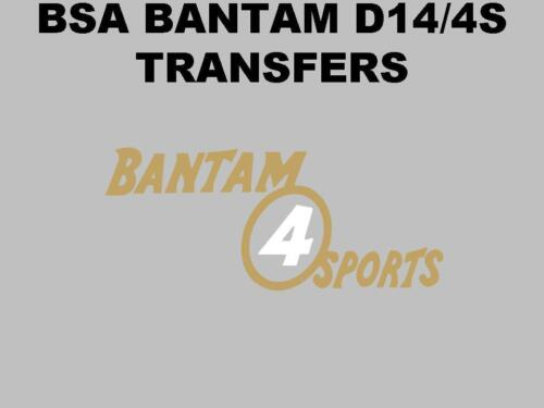 BSA D14 Bantam 4 Sports Side Panel /& Screen Transfers Motorcycle 1No Decal D14