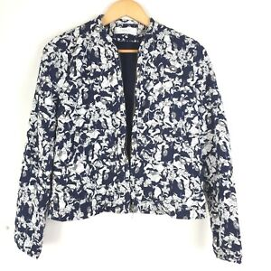 Zara-Bomber-Jacket-Navy-White-Floral-Botanical-Leaf-Print-Quilted-Casual-M-8-10