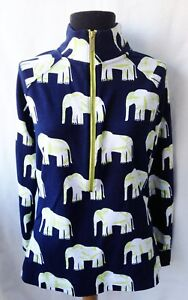 Crown-amp-Ivy-Beach-Elephant-Print-Navy-Lime-Green-amp-White-1-2-Zip-Top-Size-S