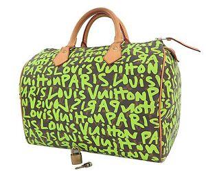 547085e9d63c8 Image is loading Authentic-LOUIS-VUITTON-Green-Graffiti-Speedy-30-Monogram-
