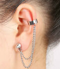 New Dangle Chain Earring Crystal Punk Cuff Clip Ear Stud Rhinestone LEFT EAR