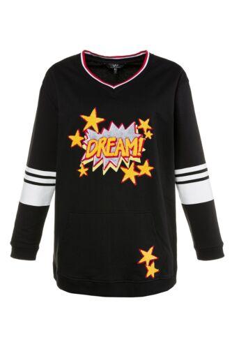 ULLA POPKEN Fashion besticktes Sweatshirt Dream Noir NEUF