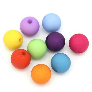 100-Mix-Matt-Acryl-Spacer-Perlen-Kugeln-Beads-Mehrfarbig-10mm