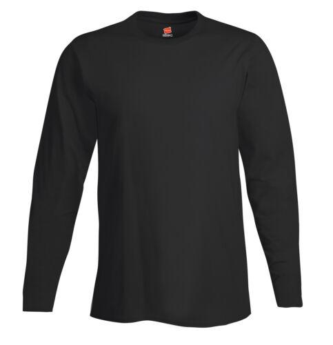 Hanes USA Nano Long Sleeve Cotton GREY BLUE BLACK or WHITE T-Shirt Tshirt M-3XL