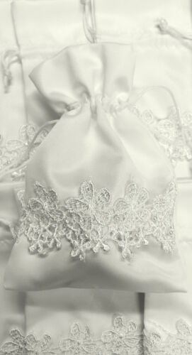 VINTAGE IVORY LACE /& PEARL POUCHES 10 PACK LUXURY WEDDING FAVOURS GIFT BAGS