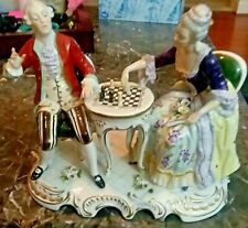 ANTIQUE MEISSEN/SEVRES/DRESDEN/CHELSEA PORCELAIN CLASSICAL FIGURAL CHESS PLAYERS