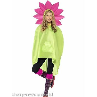 Ladies Mens Festival Essential Flower Power Waterproof Party Poncho Accessory