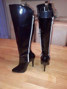 Details zu Ausgefallene Extravagante Stiefel schwarz Lacklederoptik High Heels 37