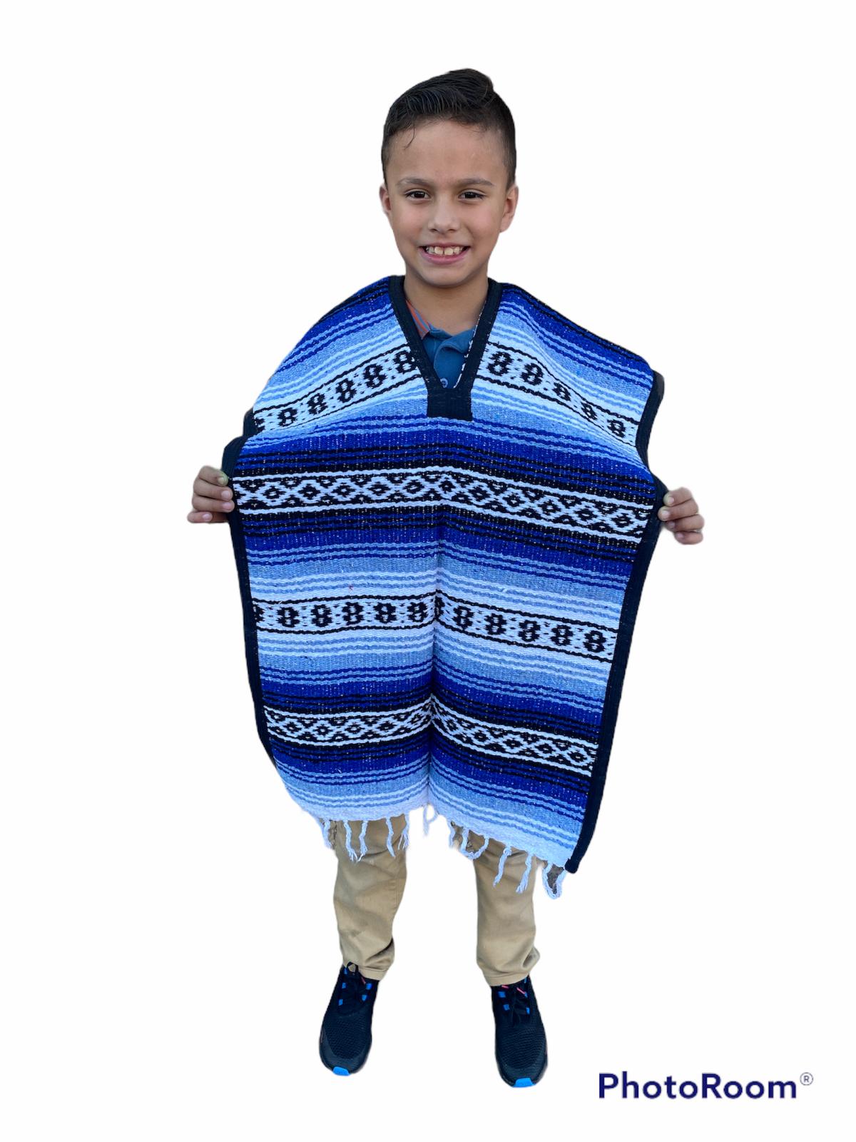 MEXICAN KIDS PONCHO , FALSA , COSTUME ,BLANKET SERAPE GABAN ,KIDS 8 - 12 , BLUE