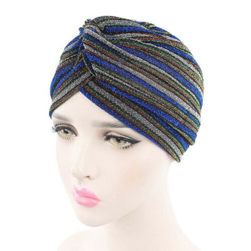 New Muslim Hat Ladies Caps Striped Sparkly Turban Hats Hijab Cap For Women