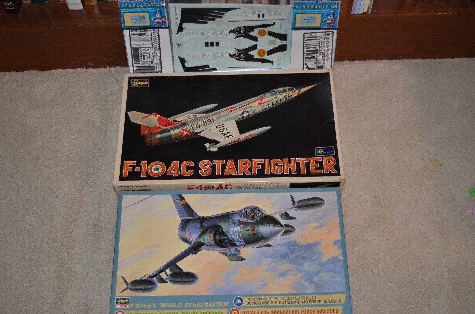1 32 HASEGAWA F-104G S & F-104C & EDUARD INT. & EXT PE & EAGLE STRIKE DECALS