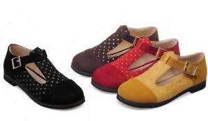 Women-039-s-Square-Toe-T-Strap-Mary-Jane-Ankle-Strap-Dot-Casual-Flat-Shoes-Plus-Size