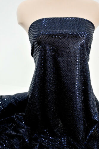 CHEER BOWS BTYD CONFETTI SEQUIN KNIT DISCO DOTS FABRIC NAVY BLUE PAGEANT