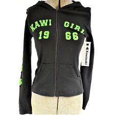 WOMENS KAWASAKI BLACK HOODED ZIP UP SWEATSHIRT KAWI GIRL 1966 K012-1022-BKMD