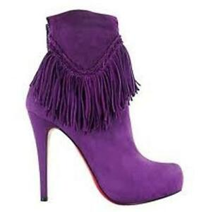 5fb2b34be9a3 Image is loading Christian-Louboutin-ROM-120-Suede-Fringe-Platform-Ankle-