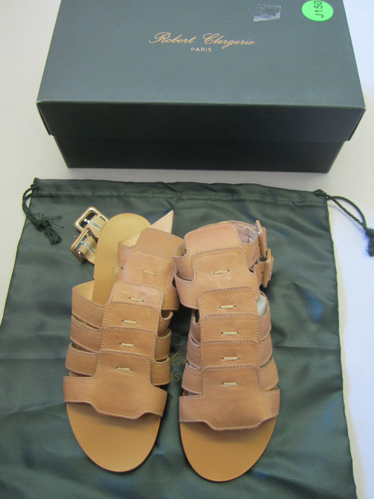 Robert Clergeries Tan Leather Gladiator Flats, Sindian, Sindian, Sindian, Größe 6 1 2 B 50b6b0