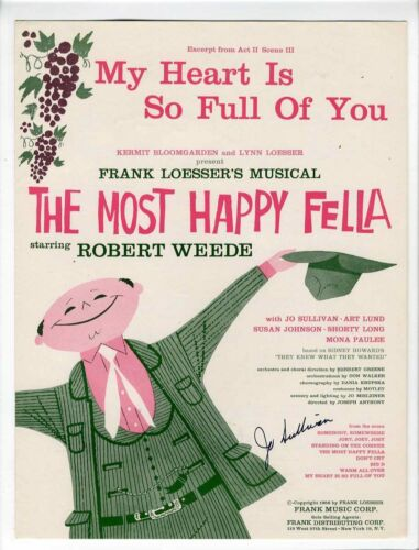 JO SULLIVAN AUTOGRAPHED Sheet Music 1956 My Heart Is So Full Of You