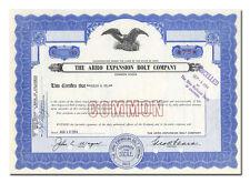 Arro Expansion Bolt Company Stock Certificate