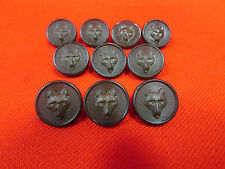 Pack Of 10 Small 15mm Brown Plastic Fox Head Design Buttons