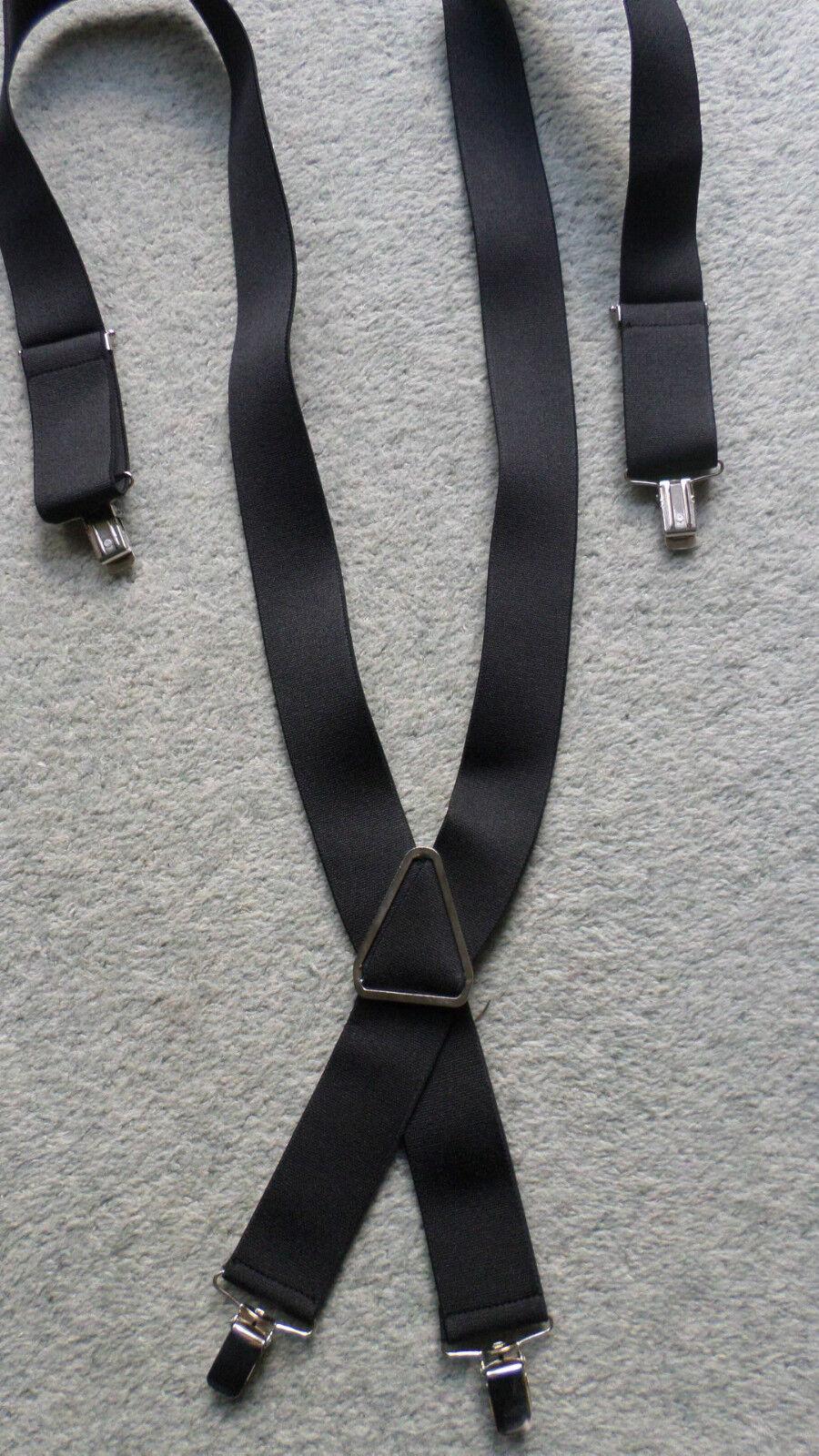 Elastische Herren Hosenträger Clipträger Schwarz 95 x 3,5 cm NEU verstellbar