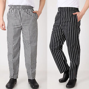 Details About Chef Work Pants Restaurant Canteen Uniform Trousers Cooking Elastic Waist Slacks