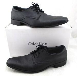 CALVIN-KLEIN-Gordan-Black-Textured-Calf-Leather-Dress-Shoes-Men-039-s-11-5