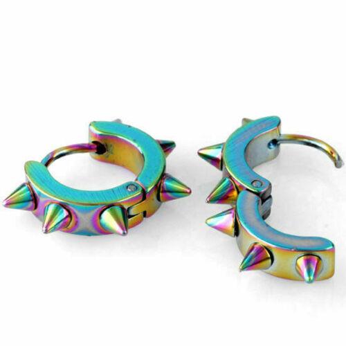 Pair Men Women Stainless Steel Hoop Spike Circle Huggie Studs Earrings Punk Cool