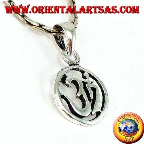 Sillaba Sacra Ciondolo medaglietta argento 925 ‰ in argento con Oṁ Óm e Aum