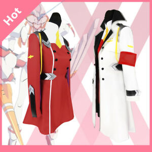 Anime DARLING FRANXX  In The Uniform Zero Two 002 Cosplay Costume+Pink Headwear