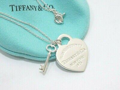 Tiffany Co Sterling Silver Return To Tiffany Heart Key Necklace 16 Ebay