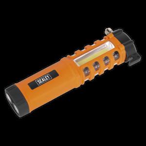 Sealey-Car-Van-Emergency-Safety-Torch-Belt-Cutter-Hammer-2W-COB-16-Red-LED